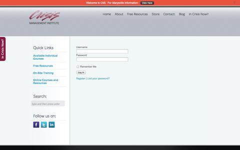 Screenshot of Login Page cmionline.com - Login   Crisis Management Institute - captured Nov. 2, 2014