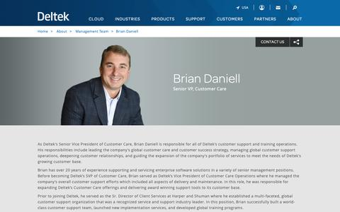 Screenshot of Team Page deltek.com - Brian Daniell | Management Team | Deltek - captured April 19, 2019