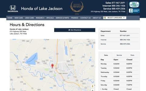 Screenshot of Maps & Directions Page Hours Page hondaoflakejackson.com - Directions to Honda of Lake Jackson | Greater Houston Honda Sales - captured May 22, 2017