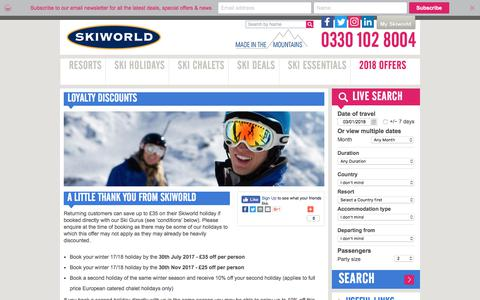 Loyalty Discounts | Skiworld