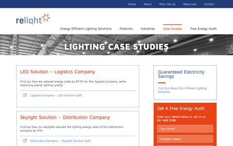 Screenshot of Case Studies Page relight.co.za - Lighting Case Studies | Relight Energy - captured Dec. 15, 2016