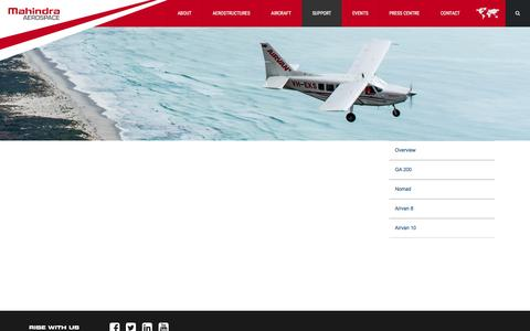 Screenshot of Support Page mahindraaerospace.com - Customer Support | Mahindra Aerospace - captured Feb. 5, 2016