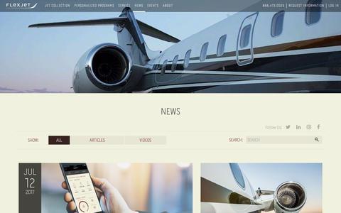 Screenshot of Press Page flexjet.com - News - Flexjet And Aviation Industry Updates - captured May 15, 2018