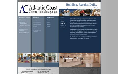 Screenshot of About Page atlanticcoastcm.com - Commercial Construction Serving New Jersey and Eastern Pennsylvania | Atlantic Coast Construction Management - captured Oct. 4, 2014