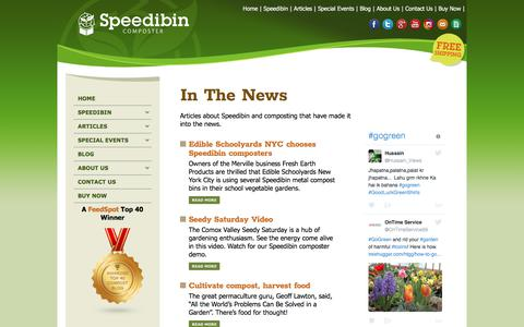 Screenshot of Press Page speedibin.com - Articles on Speedibin and Composting - Rodent & Vermin-Free - captured June 15, 2017