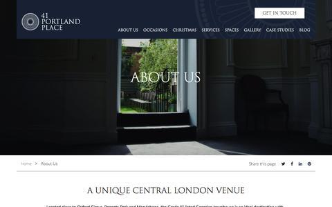 Screenshot of About Page 41portlandplace.com - About Us - 41 Portland Place - captured Sept. 21, 2018