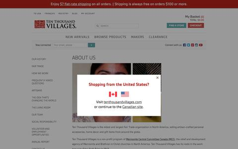 Screenshot of About Page tenthousandvillages.ca - About Us - Ten Thousand Villages - captured Feb. 14, 2016