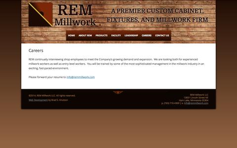 Screenshot of Jobs Page remmillwork.com - Careers - REM Millwork - Minneapolis, MN - captured Oct. 26, 2014