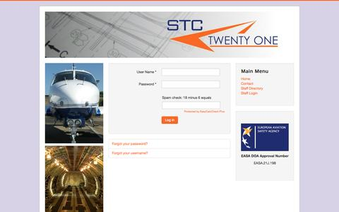 Screenshot of Login Page stc21.co.uk - Staff Login - captured Oct. 3, 2014
