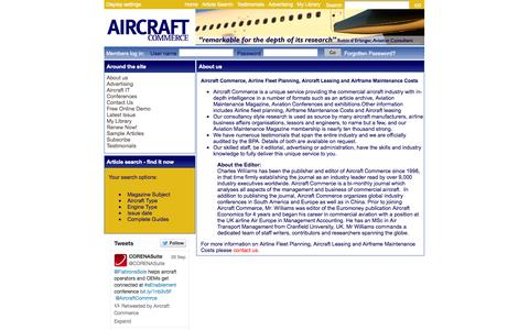 Screenshot of About Page aircraft-commerce.com - About Us, Airline Fleet Planning, Leasing and Airframe Maintenance Costs - captured Sept. 30, 2014