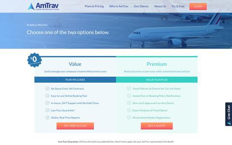 Screenshot of Pricing Page amtrav.com - AmTrav   Corporate Business Travel Management - captured July 21, 2017