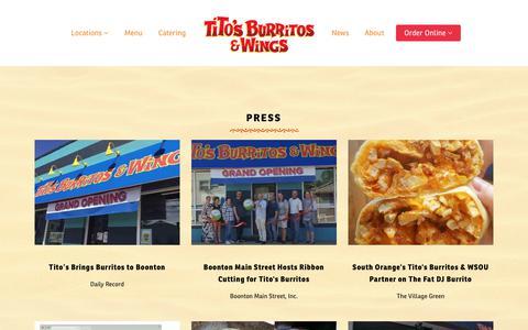 Screenshot of Press Page titosburritos.com - Press - Tito's Burritos and Wings - captured June 19, 2017