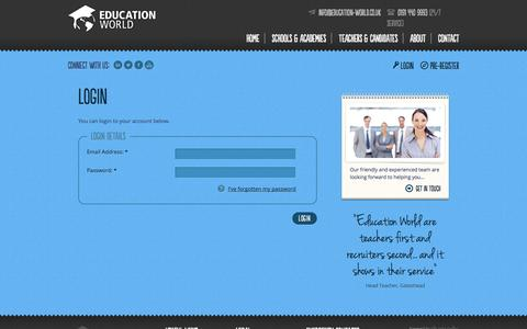 Screenshot of Login Page education-world.co.uk - Education World - captured Oct. 2, 2014