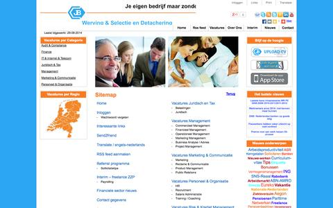 Screenshot of Site Map Page jobbroker.nl - Job Broker Banking and Insurance sitemap - captured Sept. 30, 2014
