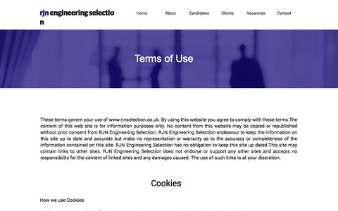 Screenshot of Privacy Page Terms Page rjnselection.co.uk - Terms of Use RJN Engineering Selection Recruitment Agency - captured Oct. 22, 2017