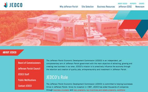 Screenshot of Contact Page jedco.org - About JEDCO | Jefferson Parish Economic Development Commission - captured Oct. 16, 2017