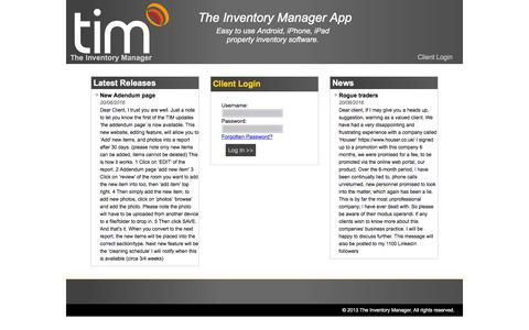 Screenshot of Login Page theinventorymanager.co.uk - TIM The Inventory Manager - captured Aug. 14, 2016