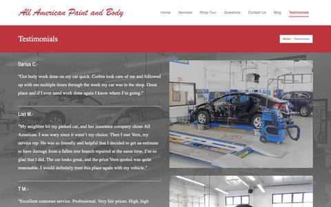 Screenshot of Testimonials Page allamericanpaintandbody.com - Testimonials | All American Paint and Body - captured Feb. 5, 2016