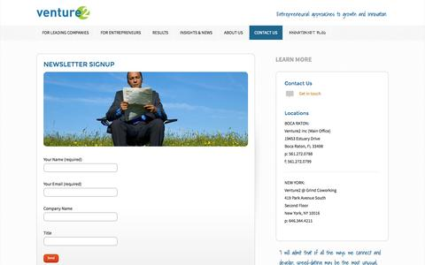 Screenshot of Signup Page venture2.com - Newsletter Signup - Venture2 Inc - captured Oct. 7, 2014