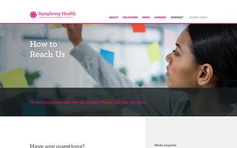 Screenshot of Contact Page prahs.com - Contact - Symphony Health - A PRA Health Sciences Company - captured Oct. 11, 2018