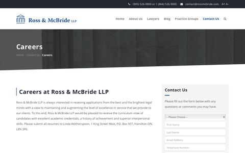 Screenshot of Jobs Page rossmcbride.com - Ross & McBride LLP - Full Service Law Firm Hamilton, ON - Careers - captured Dec. 1, 2016