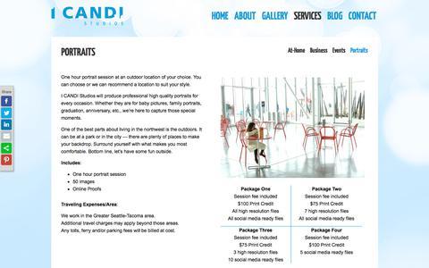 Screenshot of Services Page candistudios.com - Portraits - I CANDI Studios - captured Sept. 20, 2017