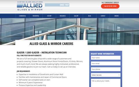Screenshot of Jobs Page alliedglassandmirror.com - Allied Glass and Mirror | Careers - captured Oct. 3, 2018