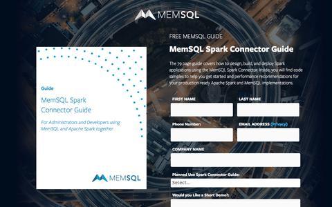 Screenshot of Landing Page memsql.com - MemSQL Spark Connector Guide - captured July 24, 2017