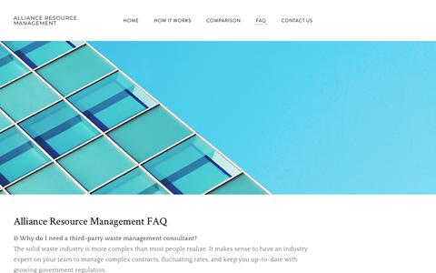 Screenshot of FAQ Page armwaste.com - FAQ - Alliance Resource Management - captured Sept. 25, 2018
