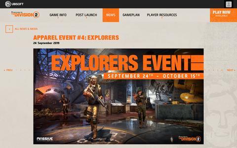 Screenshot of Press Page ubisoft.com - Apparel Event #4: Explorers - captured Nov. 8, 2019