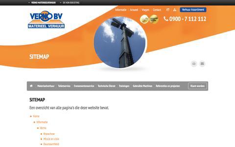 Screenshot of Site Map Page verno.nl - Sitemap | Verno materieel verhuur - captured Nov. 6, 2017