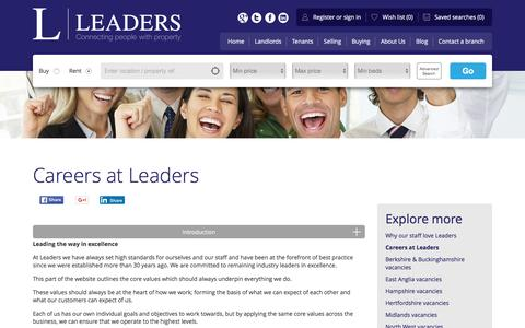Screenshot of Jobs Page leaders.co.uk - Letting and estate agent jobs at Leaders - captured Jan. 19, 2016