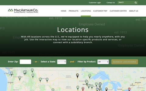 Screenshot of Locations Page macarthurco.com - Locations :: MacArthur - captured July 27, 2018