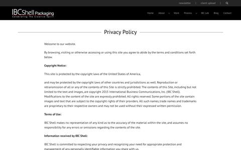 Screenshot of Privacy Page ibcshell.com - Privacy Policy - IBC Shell - captured Feb. 3, 2016