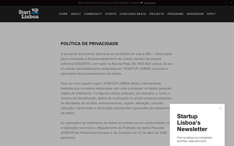 Screenshot of Privacy Page startuplisboa.com - Política de Privacidade — Startup Lisboa - captured Nov. 5, 2018