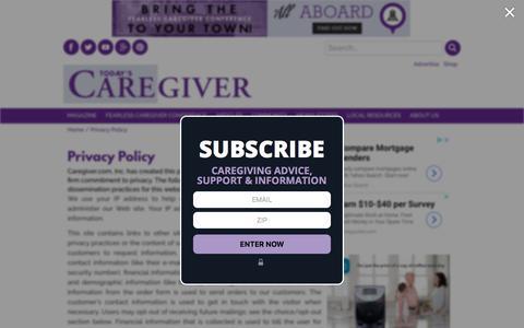 Screenshot of Privacy Page caregiver.com - Privacy Policy - Caregiver.com - captured Sept. 23, 2018