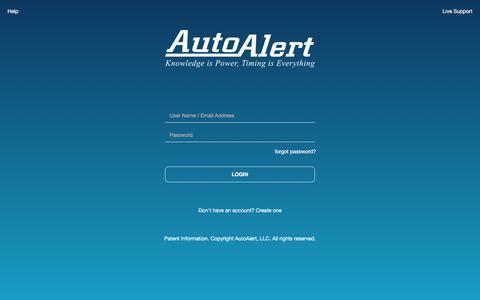 Screenshot of Login Page autoalert.com - AutoAlert | Login - captured July 21, 2019