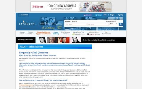 Screenshot of FAQ Page tributes.com - Tributes.com - captured Aug. 21, 2016