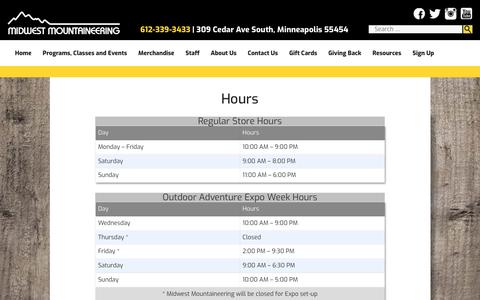 Screenshot of Hours Page midwestmtn.com - Hours - Midwest Mountaineering - captured Oct. 25, 2017