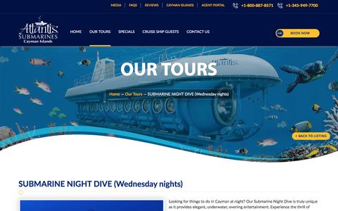 Cayman Submarine Night Dive, Grand Cayman night Dive, Night Dive Tour