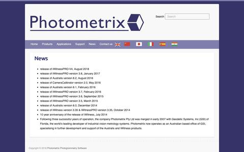 Screenshot of Press Page photometrix.com.au - News - Photometrix Photogrammetry Software - captured Dec. 8, 2018