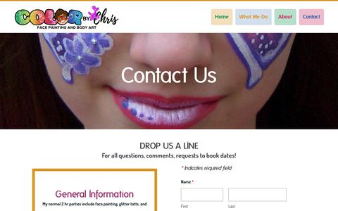 Screenshot of Contact Page colorbychris.com - Contact | Color By Chris | Bergen County - Color By Chris, LLC - captured July 20, 2018