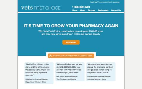 Screenshot of Home Page vetsfirstchoice.com - Home | Vets First Choice  |  Your Pharmacy. Your Clients. Your Success. - captured Sept. 15, 2014