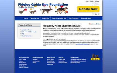 Screenshot of FAQ Page fidelco.org - Prospective Clients - FAQs - Fidelco Guide Dog Foundation, Inc. - captured Oct. 5, 2014