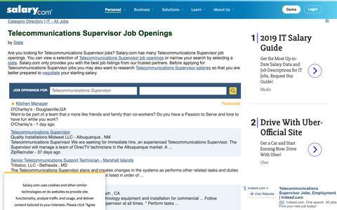 Screenshot of Jobs Page salary.com - Telecommunications Supervisor Job Openings | Salary.com - captured Oct. 26, 2018