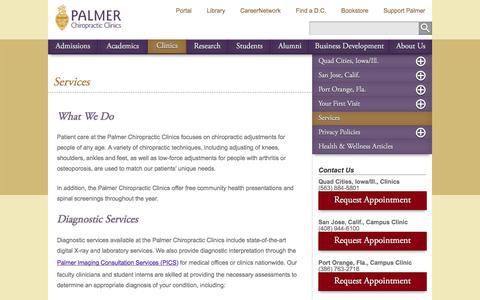 Screenshot of Services Page palmer.edu - Services - captured Jan. 20, 2016