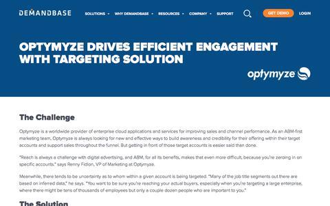 Screenshot of Case Studies Page demandbase.com - Optymyze Drives Efficient Engagement with Targeting Solution | Account-Based Marketing – Demandbase - captured Nov. 6, 2019