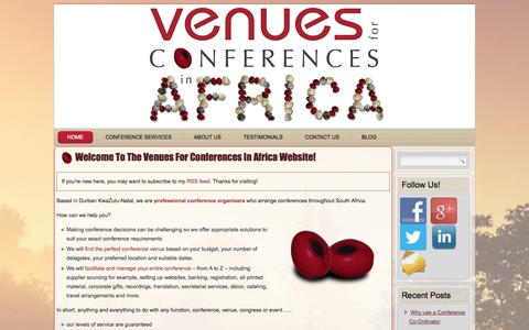 Screenshot of Home Page venues.co.za - Venue For Conferences Africa - captured Oct. 7, 2014