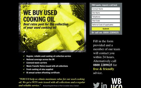 Screenshot of Home Page webuyusedcookingoil.com - we buy used cooking oil - captured Oct. 7, 2014