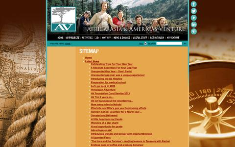 Screenshot of Site Map Page aventure.co.uk - Site Map - Africa and Asia Venture - captured Oct. 4, 2014